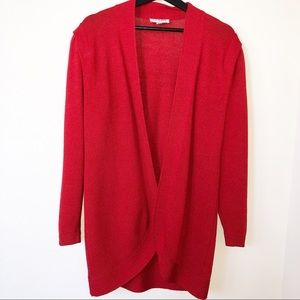 St. John Vintage Red Open Front Cardigan Sweater 6